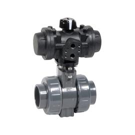 B1-ACS - Robinet sfera 2 cai PVC-U cu actionare pneumatica PRISMA
