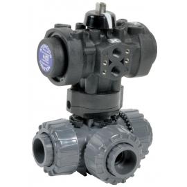 5200 - Robinet sfera 3 cai PVC-U -cu actionare pneumatia PRISMA